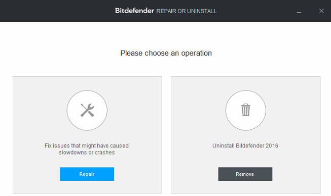 bitdefender repair and uninstallation