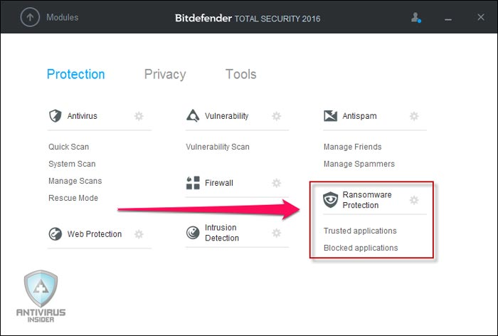 Bitdefender Main window
